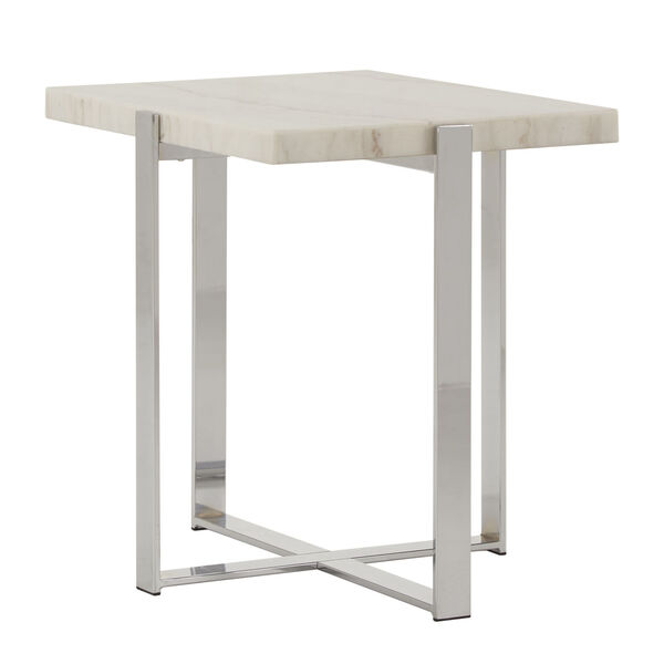 Diana Chrome Marble Top Framed End Table, image 1